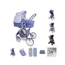 Lorelli Kombi-Kinderwagen Kombikinderwagen Verso 2 in 1, verstellbarer Schiebegriff Fußsack, Tasche grau