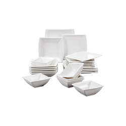 MALACASA Tafelservice BLANCE (24-tlg), Porzellan, 24 tlg. Cremeweiß Porzellan Geschirrset