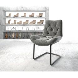 DELIFE Esszimmerstuhl Taimi-Flex Grau Samt Freischwinger rund schwarz, Esszimmerstühle