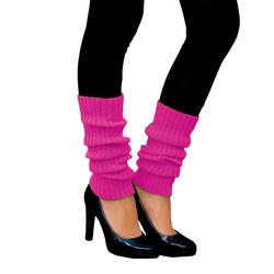 Damen Stulpen Strümpfe 80er Jahre Party Fasching Karneval Aerobic Kostüm Accessoires - neon pink