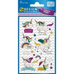 Creative Papier-Sticker Einhörner Sprüche 24 Stück bunt