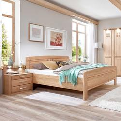 Altersgerechtes Bett aus Eiche teilmassiv LED Beleuchtung (3-teilig)