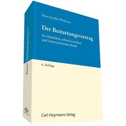 Der Bestattungsvertrag als Buch von Hans-Joachim Widmann