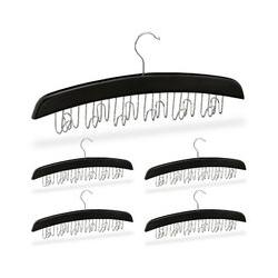 5 x Gürtelhalter Kleiderschrank, Haken für 12 Gürtel, 360° drehbarer Haken, Holz, 17,5x43x5,5 cm,