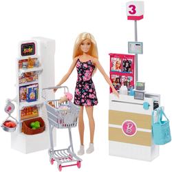 Mattel® Anziehpuppe Barbie Supermarkt und Puppe (Set, 20-tlg., inkl. Supermarkt)