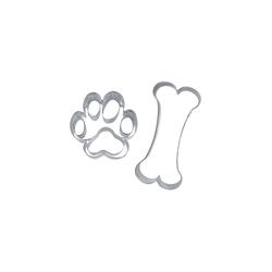 STÄDTER Ausstechform Ausstecher Set Hundesnack ca. 7,5–9,5 cm, Edelstahl, Hundeausstecher, Hund und Pfote Ausstecher
