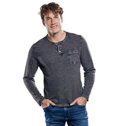 Henley Shirt mit Waffelstruktur. Engbers Schwarz