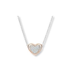 JuwelmaLux Silberkette Herzkette bicolor Silber 925/000