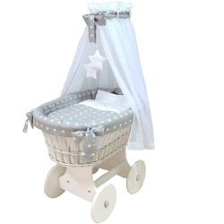 Babymajawelt® Stubenwagen Komplett Set ''STARS'' Sterne grau