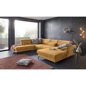 sit&more Wohnlandschaft, 15 cm Fußhöhe, inklusive Sitztiefenverstellung, wahlweise Kopfteilverstellung, wahlweise in 2 unterschiedlichen Fußfarben gelb