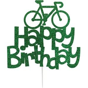 """LissieLou – Kuchentopper, Tortendekor, """"Happy Birthday"""" mit Fahrrad, glitzernde Kuchen-Dekoration grün"""