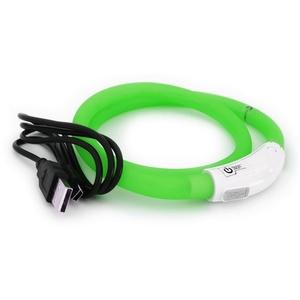 PRECORN Hunde-Halsband LED USB Halsband Hund Silikon Hundehalsband Leuchthalsband für Hunde aufladbar per USB (Größe S-L auf 18-65 cm individuell kürzbar), Silikon grün