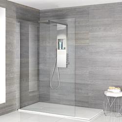 Iko Walk-In Dusche mit Duschwanne in weißer Steinoptik & glashaltendem Duschpaneel - Wählbare Größe, von Hudson Reed