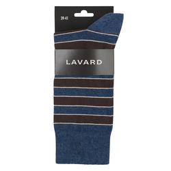 Lavard Dunkelblaue Socken mit braunen Streifen 73074  39-41