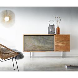 DELIFE Sideboard Juwelo 150 cm Akazie Natur mit Steinfurnier, Sideboards