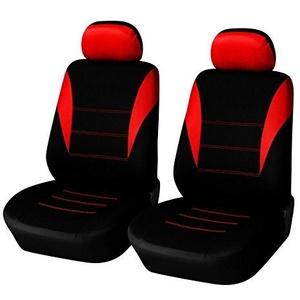 2x Auto Vordere Sitzbezüge Rot-Schwarz Schonbezüge Neu Polyester Hochwertig