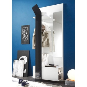 expendio Garderobe Smart, Kompaktgarderobe inkl. Kleiderstange und Spiegel 75x200x33 cm weiß anthrazit weiß