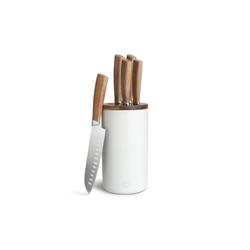Springlane Messer-Set Akazienholz (6-tlg), inkl. Keramik Messerblock