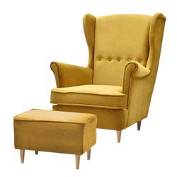 Fotel z podnóżkiem Malmo musztardowy