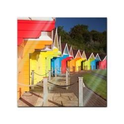 Bilderdepot24 Glasbild, Glasbild - Bunte Strandhütten in Grossbritannien 20 cm x 20 cm