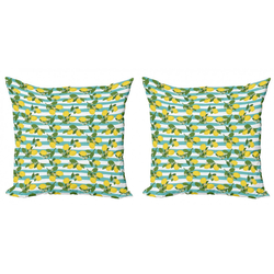 Abakuhaus Kissenbezug Modern Accent Doppelseitiger Digitaldruck, Zitronen Zitronenblüten Blätter Kunst 40 cm x 40 cm
