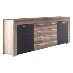ebuy24 Sideboard Borak Sideboard 2 Türen und 4 Schubladen, Nussbaum