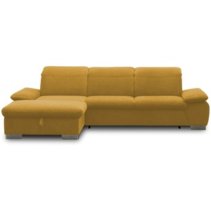 DOMO Collection Maven Ecksofa, Sofa mit Rückenfunktion, Polsterecke mit Federkern und Relaxfunktion, 286x184x77 cm, Eckcouch in gelb
