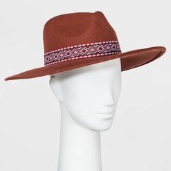 Women's Guitar Strap Band Wide Brim Felt Fedora Hat - Universal Thread Rust One Size, Red