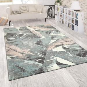 Paco Home Wohnzimmer Teppich Kurzflor Grün Rosa Bunt Pastellfarben Blumen Palmen Design, Grösse:60x100 cm
