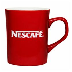 NESCAFE Becher Kaffeebecher mit Henkel, rot, 230 ml, Porzellan
