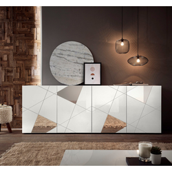 LC Sideboard Vittoria Sideboard, Breite 241 cm, Front mit Siebdruck und Spiegelforn weiß