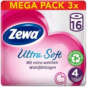 Zewa ultra soft Toilettenpapier, extra weiches WC-Papier 4-lagig mit zuverlässiger Komfortlagen-Qualität, 1 x Vorratspack mit 48 Rollen (3 x 16 Rollen)