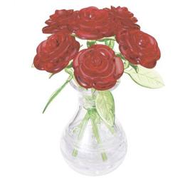 HCM Kinzel 3D Crystal Puzzle Vase mit roten Rosen 47 Teile
