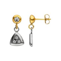 JOBO Paar Ohrhänger, Edelstahl bicolor Kristallsteine und Zirkonia