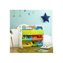 SONGMICS Aufbewahrungsbox GKR03W, Standregal Kinderregal Bücherregal Aufbewahrungsregal mit 6 Boxen All-in-1