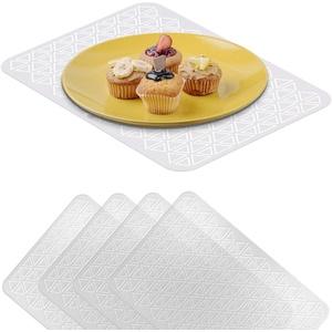 VILSTO Tischdecke Transparent, Kunststoff Platzdeckchen, rutschfest Abwaschbar Platzset, Schreibtisch Unterlage, Tischdeko Esstisc, Tischunterlagen Tischmatt, 4er Set
