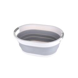 SOSmart24 Wäschekorb SOSmart24 SO SMART Faltbarer Wäschekorb rund aus Plastik - Weiß Grau - 50 L Volumen - Wäschesammler faltbar klappbar Aufbewahrungsbox Camping Laundry basket Plastikwanne Waschkorb groß klein tragbar