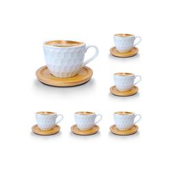 Melody Tasse Porzellan Tassen Set Teeservice Kaffeeservice mit Bambus Untertassen 12-Teilig (12-tlg), Porzellan, Espressotassen, 6er-Set, mit Bambus Untertassen beige 10 cl - 100 ml - Ø 6.5 cm x 6.5 cm x 6 cm