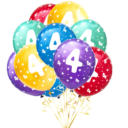 Luftballon Set Zahl 4 für 4. Geburtstag Kindergeburtstag Party 10 Deko Ballons Geburtstagsdeko bunt