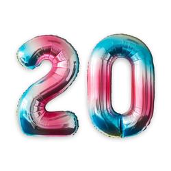 MyBeautyworld24 Folienballon Folienballon Regenbogen Zahlenballon Heliumballon Riesenzahl Luftballon Party Kinder-Geburtstag Zahl 20