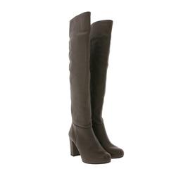 Unisa UNISA Weitschaft-Stiefel schicke Damen Lederimitat-Stiefel Made in Spain Overknee-Stiefel Braun Weitschaftstiefel