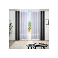 Vorhang Gardine, Bonilo, Gardine auf Maß, 1:2 Wellenband New Wave 200 cm x 145 cm