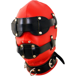 Leder Kopfmaske rot mit Mundknebel