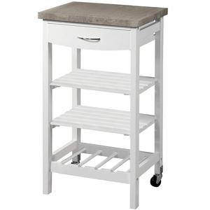 KESPER Küchenwagen 25808 weiß lackiert mit Arbeitsplatte mit Dekorfolie Betonoptik/Servierwagen