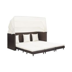 Zqyrlar - Ausziehbares 3-Sitzer-Schlafsofa mit Dach Poly Rattan Braun