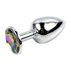 Sandritas Analplug Analplug mit Schmuckstein Multicolor Bunt Metall Butt Plug Kristall
