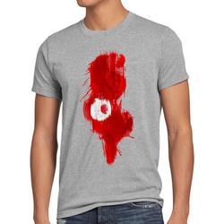 style3 Print-Shirt Herren T-Shirt Flagge Tunesien Fußball Sport Tunisia WM EM Fahne grau 4XL