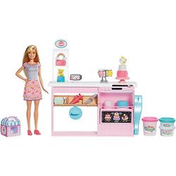 Barbie Tortenbäckerei Spielset mit Puppe (blond) und Knete, Barbie Bäckerin