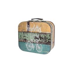 HMF Aufbewahrungsbox Vintage Koffer, aus Holz, Deko Fahrrad, 25 x 21,5 x 8,5 cm