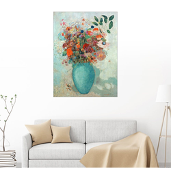 Posterlounge Wandbild, Blumen in einer türkisen Vase 30 cm x 40 cm